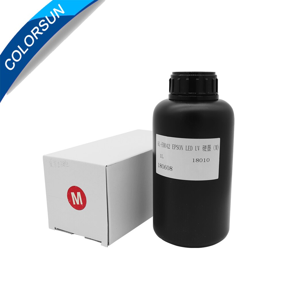 Colorsun 1L UV LED الحبر للأشعة فوق البنفسجية طابعة مسطحة UV الحبر السائب 1390 1400 1410 1430 1500 واط R280 ل DX4 DX5 DX6 DX7 رأس الطباعة الحبر