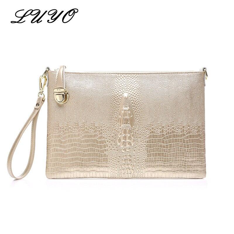 Novedad 2018, bolso de mano grande de piel auténtica para mujer, bolsos cartera bolsa de lujo con cocodrilo de noche y dorado para mujer