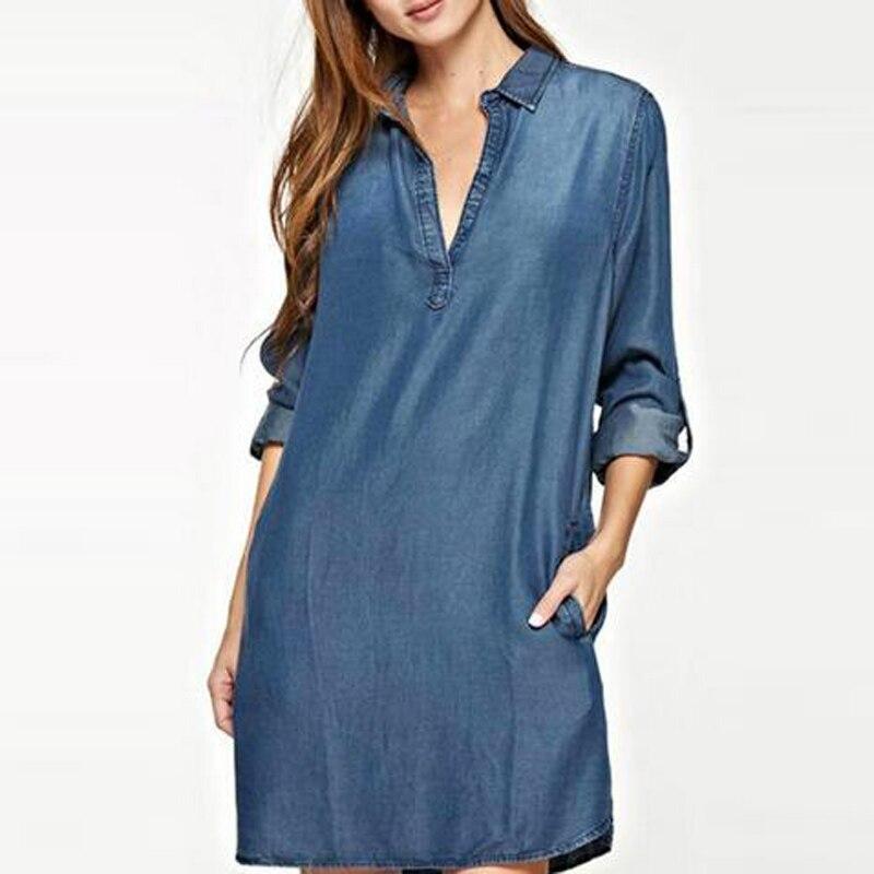S-5XL moda mujer Denim Blue Jean Look cuello pico Plunge Sexy Trun Down collar Mini camisa Vestido de talla grande