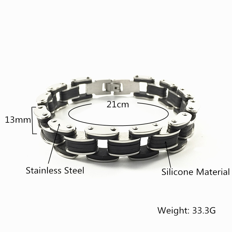 Pulsera de cadena de motocicleta para hombre de alta calidad, brazalete de acero inoxidable con silicona
