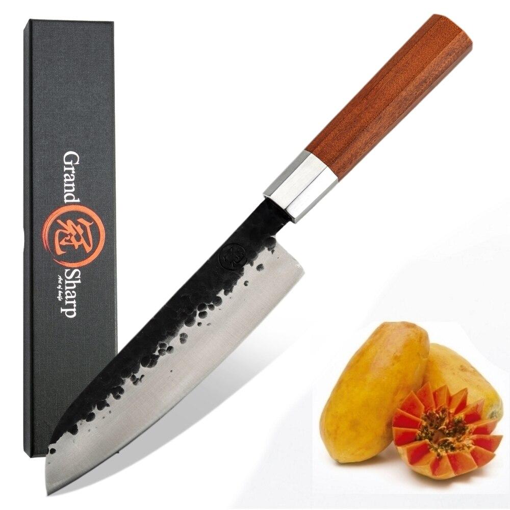 سانتوكو-سكين مطبخ مزورة يدويًا مقاس 7 بوصات ، فولاذ عالي الكربون ، أدوات تقطيع ، ساشيمي ، سوشي ، مقبض خشبي