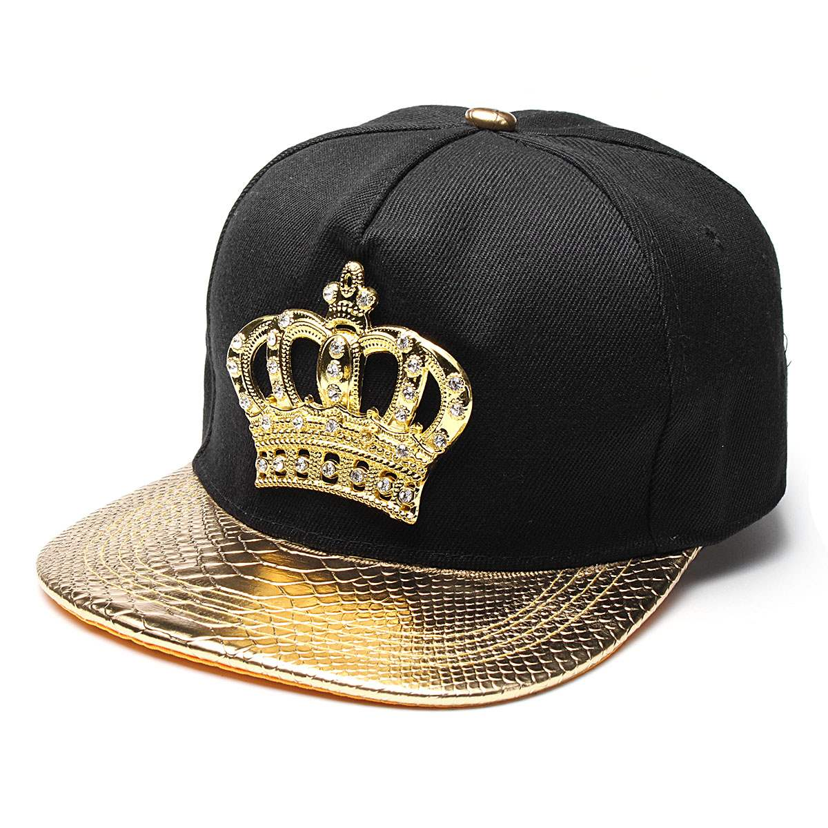 Men Women's Snapback Hat KING Crown Baseball Cap Adjustable Hip Hop Dad Hats Gold/Silver/Black Peaked Rhinestone Crystal Sun Cap