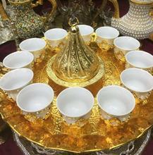 12 tasses à café turc arabe café expresso Mırra ensemble de service plateau couleur or