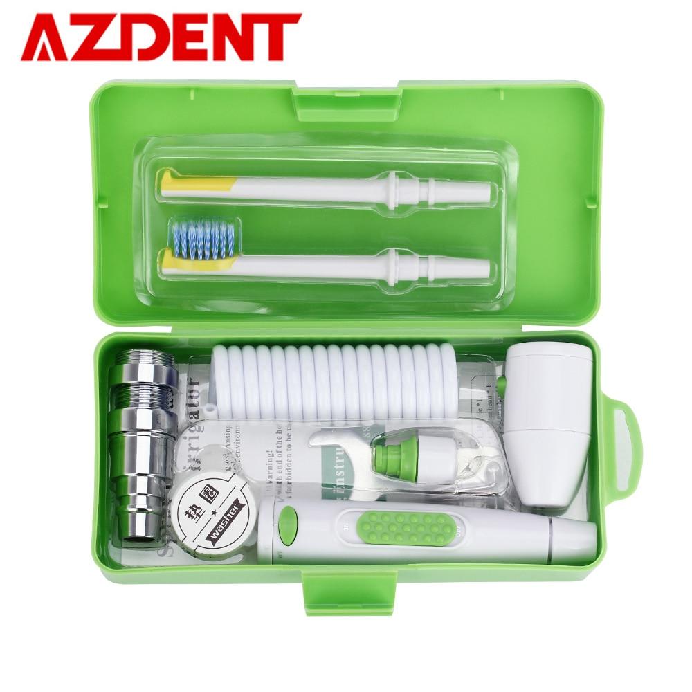 AZDENT nuevo portátil Oral irrigador de agua grifo hilo Dental removible hilo Dental de riego de la cabeza del cepillo de riego Caja 2 Jet consejos