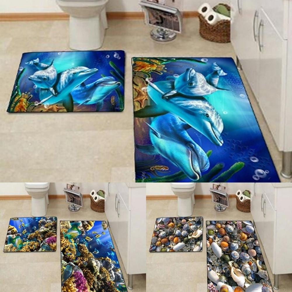 Más Bajo mar delfines mar conchas acuario 3d impresión antideslizante microfibra 2 piezas Juego de alfombrilla de baño 90 60 cm x 60 cm x 60x50 cm
