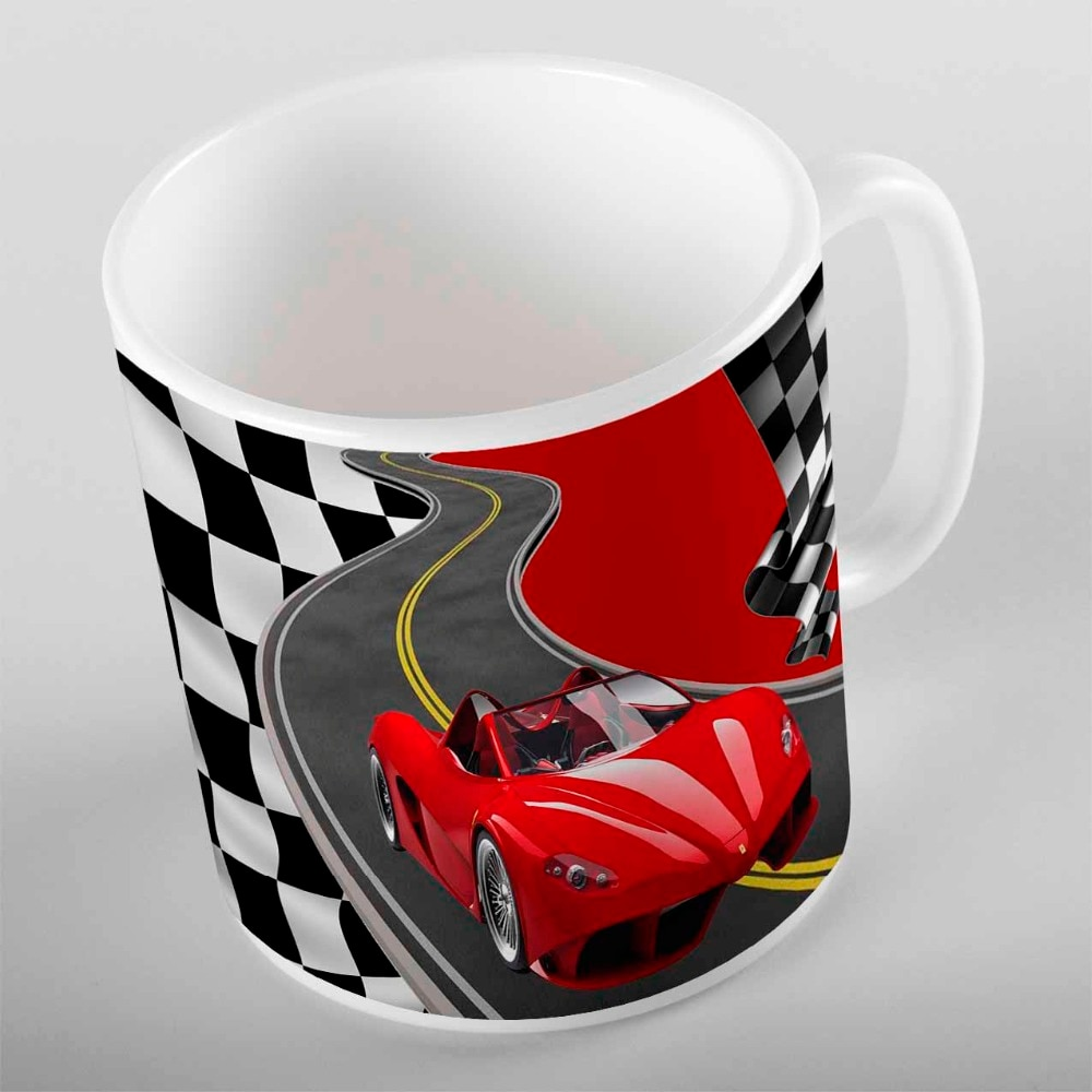 Más rojo carreras deporte coche carrera bandera niño 3d dibujo impreso niños turco cerámica agua potable leche taza de café o té taza