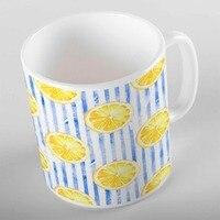 Else Tropical Watercolor Blue Lines Yellow Slice of Lemons 3d Print Gift Ceramic Drinking Water Tea Bear Coffee Cup Mug Kitchen