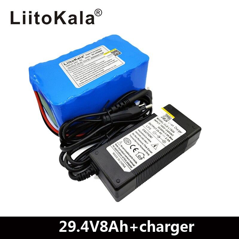 LiitoKala 24 فولت 8ah دراجة كهربائية بطارية أيون الليثيوم 29.4 فولت 8000 مللي أمبير/ساعة 15A BMS 250 واط 24 فولت 350 واط 18650 بطارية حزمة كرسي متحرك المحرك