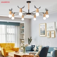nordic style living room ceiling light modern minimalist solid wood bedroom kids room led home iron antler lamps
