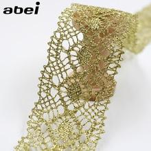 5 cm, 10 yardas, adornos de encaje dorados Vintage, tela de encaje para prendas de vestir, accesorios de costura, apliques, artesanías de boda