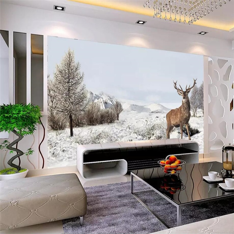 Ручная роспись снег олень ТВ фон стены на заказ высокого класса настенная Фабрика оптовая продажа Обои Настенная фото стена