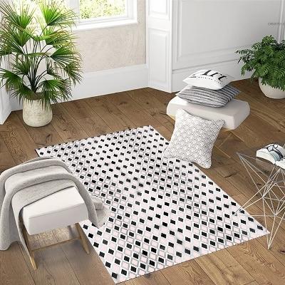 Else Black White Pink Tiles Geometric 3d Pattern Print Non Slip Microfiber Living Room Decorative Modern Washable Area Rug Mat