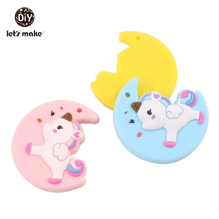 Mordedores de silicona de grado alimenticio de 5 uds., animales de dibujos animados, mordedores, unicornio arcoíris DIY, collar de lactancia de 5*5 cm, mordedores para bebés
