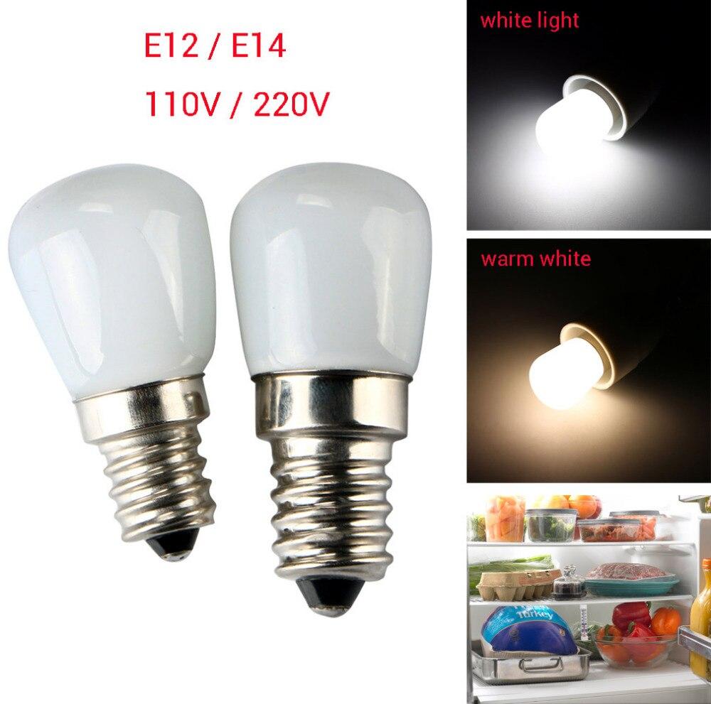 Lâmpadas de metal e14/e12 2w 2835 smd 1 peça, mini holofote led para geladeira, geladeira, congelador, aparelho de luz 110/220v