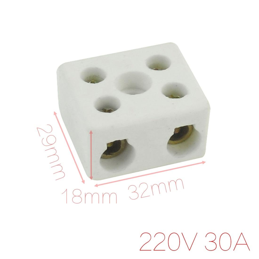 Diâmetro duplo do conector do fio da fileira de uxcell 220v 30a 2 posição 6mm bloco terminal cerâmico branco 32x29x18mm