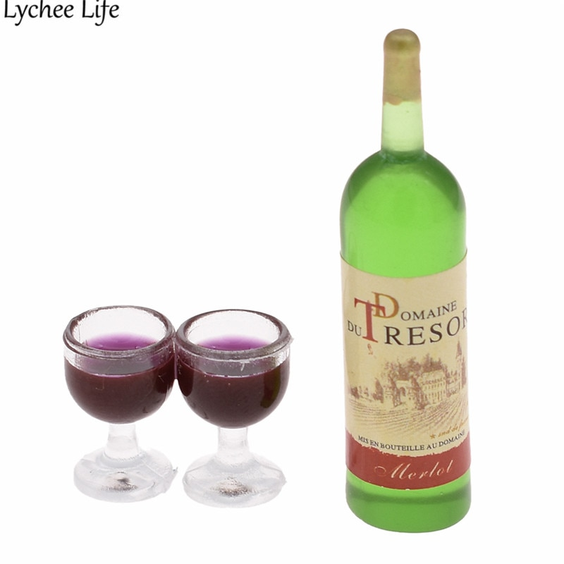Casa de muñecas miniatura botella de vino rojo 2 copas de vino Copa de la estatuilla de la resina moderna casa habitación de casa de muñecas manualidades decorativas