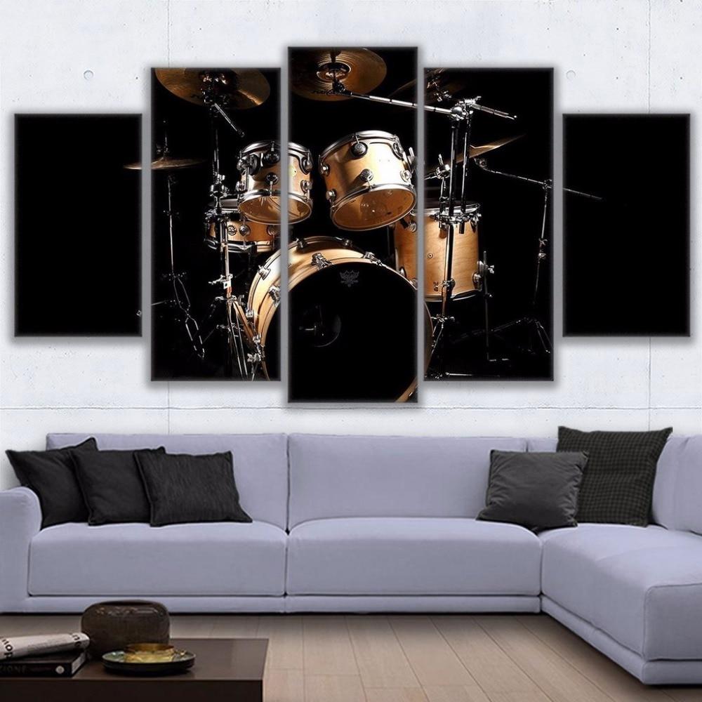 Kit de 5 piezas de música Rock Jazz tambor pintura lienzo pintura arte de pared decoración del hogar lienzo moderno imágenes impresas cartel de ilustraciones