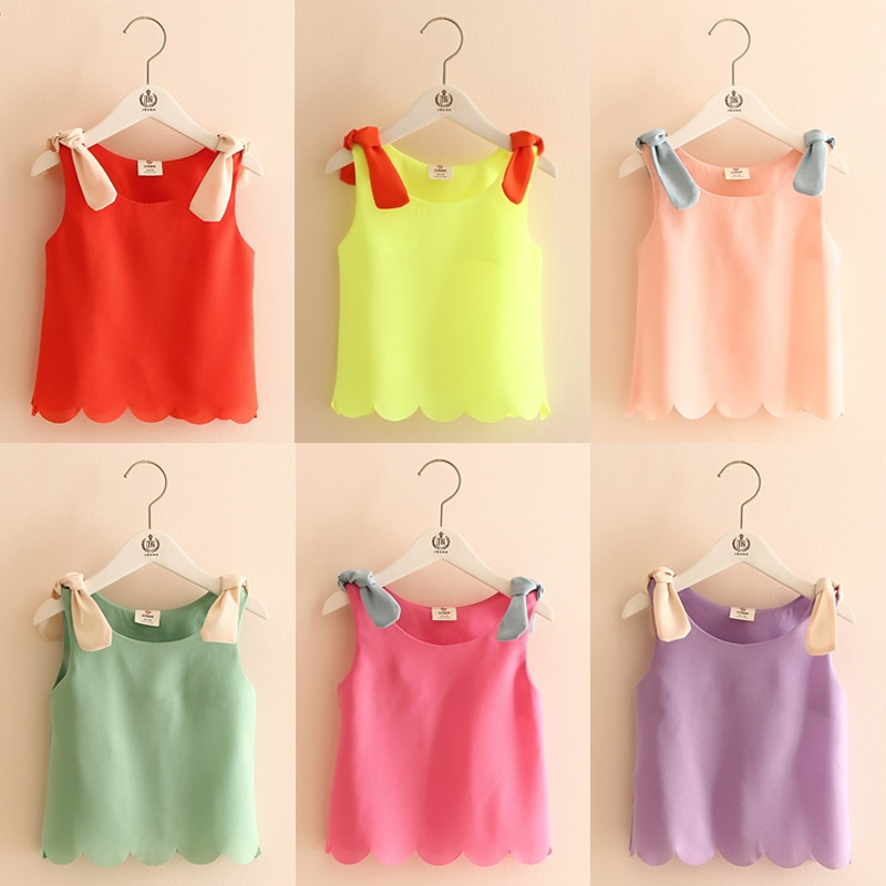 T-Shirt sans manches col rond en mousseline   Pour enfants, couleur bonbon, Orange, noir, blanc, bleu, jaune, rose, violet, été 2020