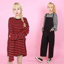 2018 nouveau noir blanc rouge rayé à manches longues coréen T-shirt femmes hommes lâche T-shirt femme mode coréenne Style écoliers
