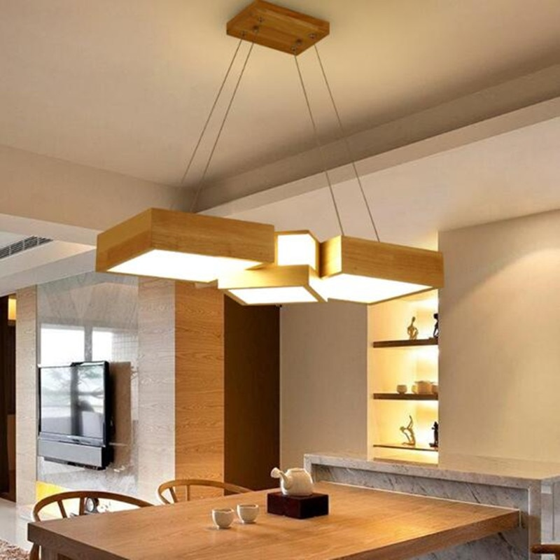 Luminaria de mesa Restaurant Droplight Nordic Solid Wood Dining Living Room Pendant Lamps Japanese LED Hanglamp Light Fixture