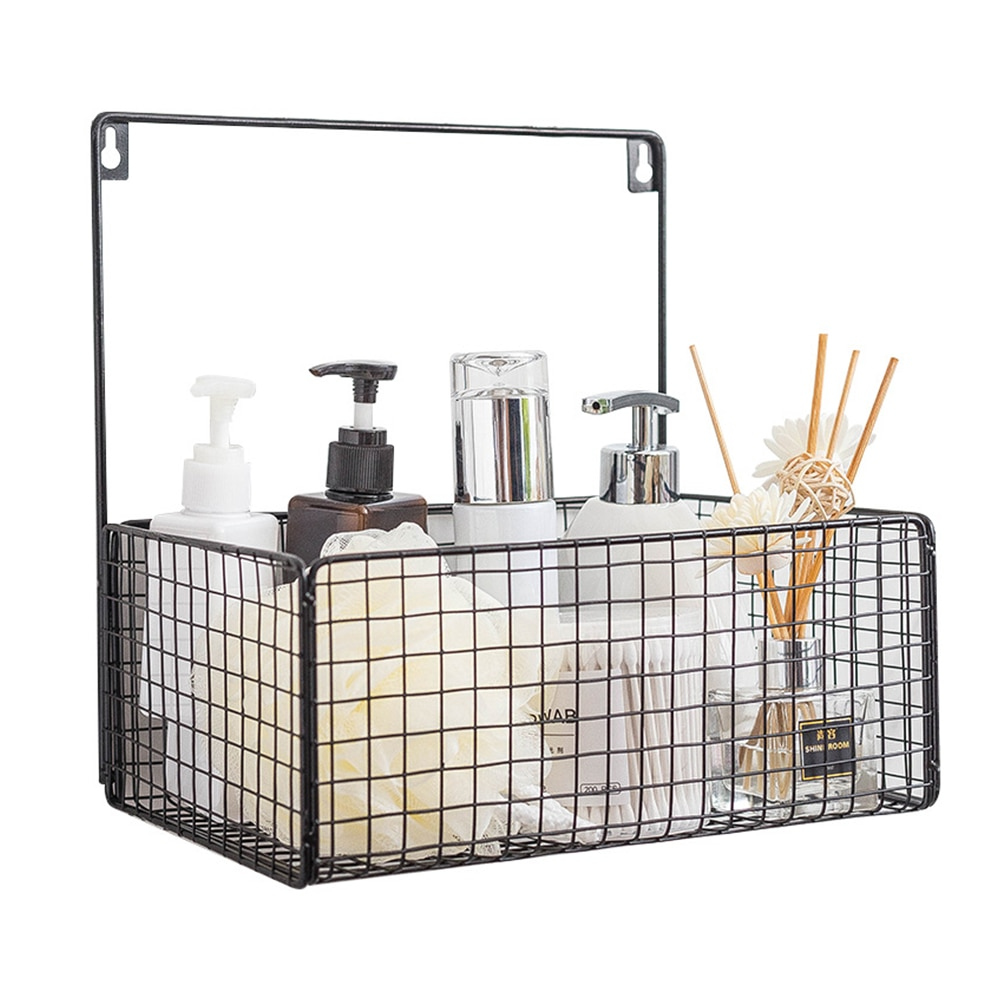 2019 más nuevo nórdicos pared montado cesto de hierro de almacenaje caja de tocador maquillaje organizador para cocina cuarto de baño blanco y negro