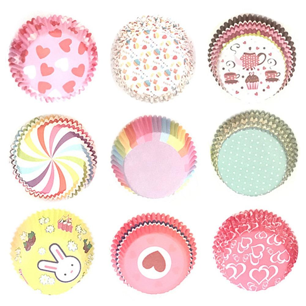 100 Uds. De calidad alimentaria forma redonda Muffin casos forro de papel para cupcakes molde utensilio para hornear máquina molde para torta bandeja TSLM2