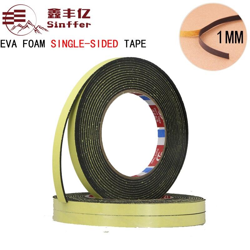 1mm de espesor 10m de longitud EVA esponja de una sola cara cinta de espuma impermeable EVA cinta de espuma blanca y negra