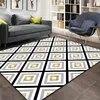 Autre gris blanc jaune contes géométrique ethnique impression 3d antidérapant microfibre salon décoratif moderne lavable zone tapis