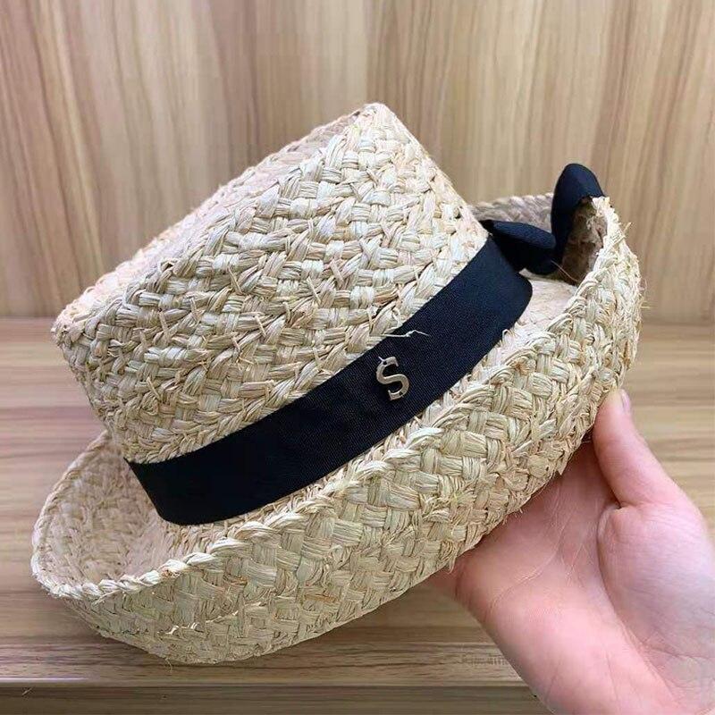 New Natural Straw Fedoras Foldable Trilby Short Brim Summer Hat Derby Raffia Hat Black Ribbon Panama Hat Elegant Ladies Cap