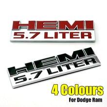 Voiture avant aile Badge 3D HEMI 5.7 litre Logo plaque signalétique emblème autocollant pour Ram 1500 2500 3500 Challenger chargeur