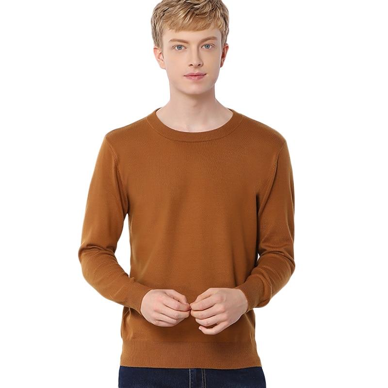 Hombres cuello redondo lana de Cachemira mezcla suéter Pullover hombre básicos suéteres hombre Roundneck de clásico suéter suéteres de lana
