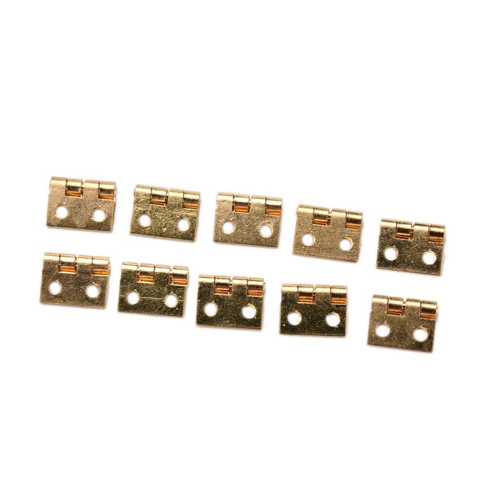 10 Uds. Bisagra pequeña chapada en latón decorativo pequeño para joyería caja de madera bisagras para puerta de armario con clavos accesorios para muebles