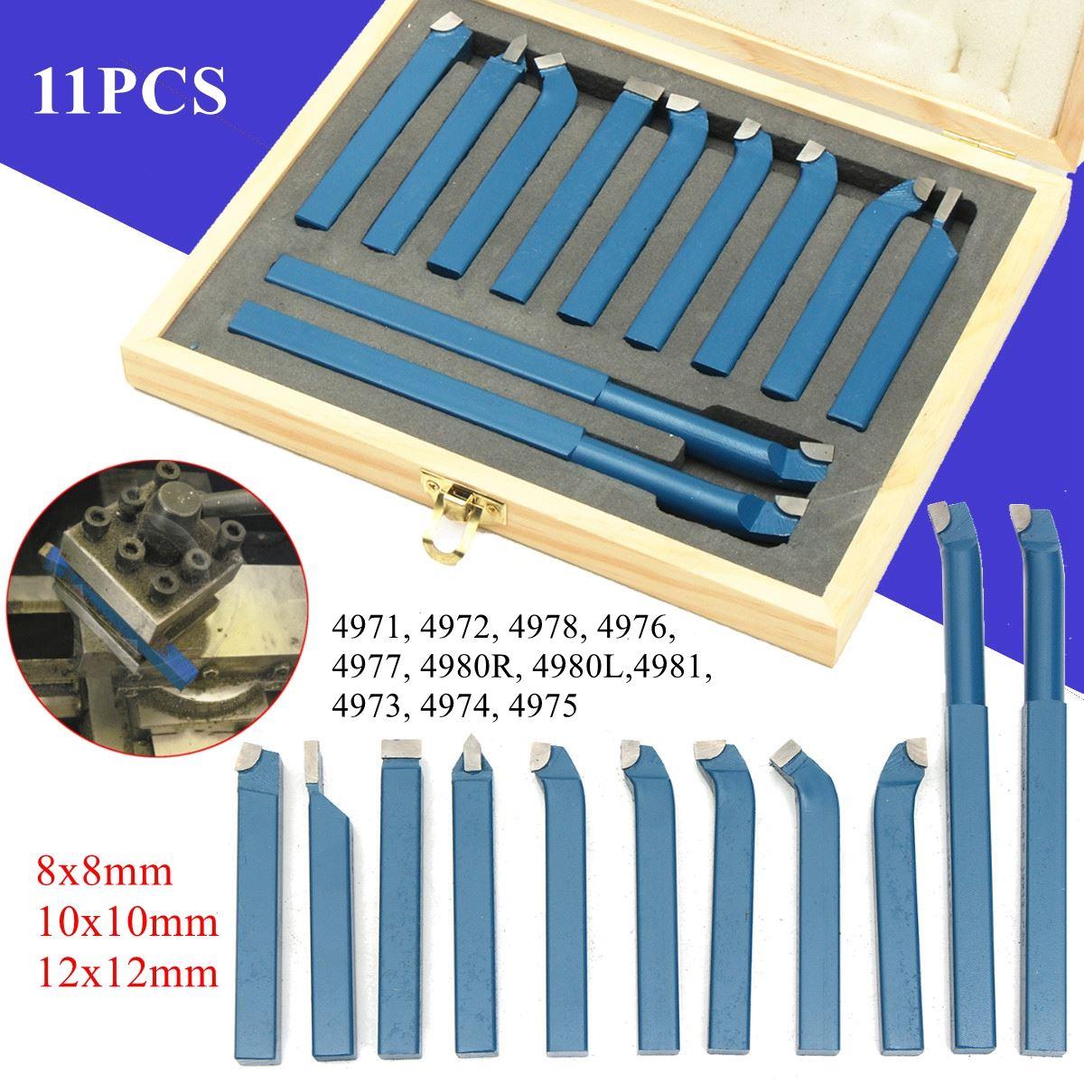 11 Uds herramienta de corte de torno de Punta de carburo de torneado exterior broca de taladrado/8/10/12mm