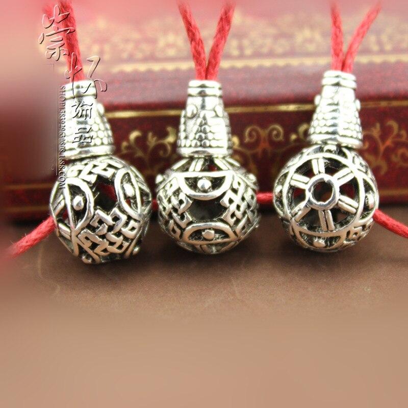 10mm 3 set/lote tibetano prata redonda oco guru contas nó chinês buda contas liga acessórios diy jóias descobertas j2603