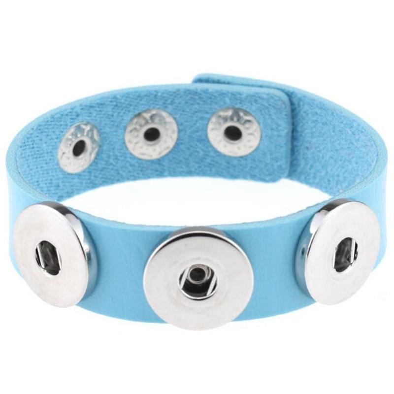 Hot Sale Blue Leather Charm Interchangeable Bracelets for Women Fit 18mm 20mm Ginger Snap Buttons Bracelet Jewelry
