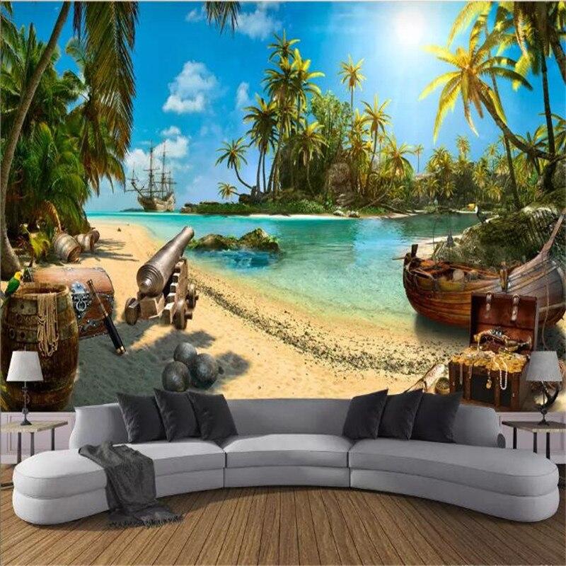 Pirata tesouro ilha paisagem 3d parede de fundo de alta qualidade pano de parede fabricantes atacado papel de parede mural foto