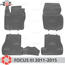 포드 포커스 3 바닥 매트 2011-2015 러그 미끄럼 방지 폴리 우레탄 먼지 보호 인테리어 자동차 스타일링 액세서리