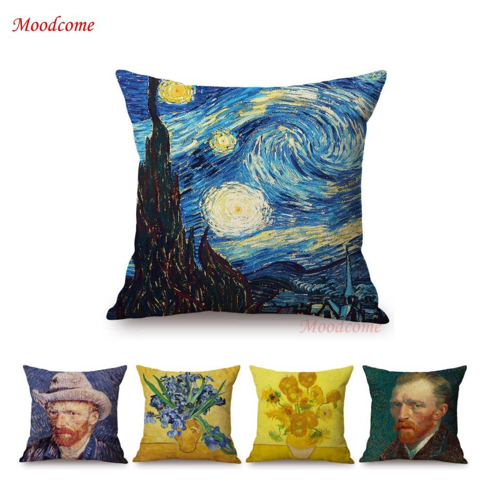 Vincent Van Gogh Famous Oil Painting Self Portrait Sunflower Starry Night Gallery Art Decoration Pillow Case Linen Cushion Cover