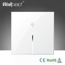 Gran oferta Wallpad blanco vidrio templado UK 110 ~ 250V 1 Gang teléfono Wifi inalámbrico controlado interruptor de luz de pared, envío gratis