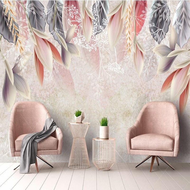Vintage hand-painted flowers Nordic minimalist TV sofa bedroom background professional production wallpaper mural custom photo w professional 10x20ft hand painted column arch scenic muslin photo backdrop background customized service size photos