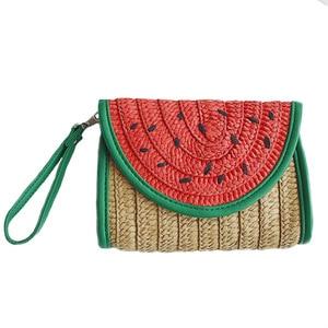 Women Straw Clutch Bag Watermelon Corn Female Messenger Bag Summer Rattan Handmade Envelope Hasp Knitted Braided Tote SS3020