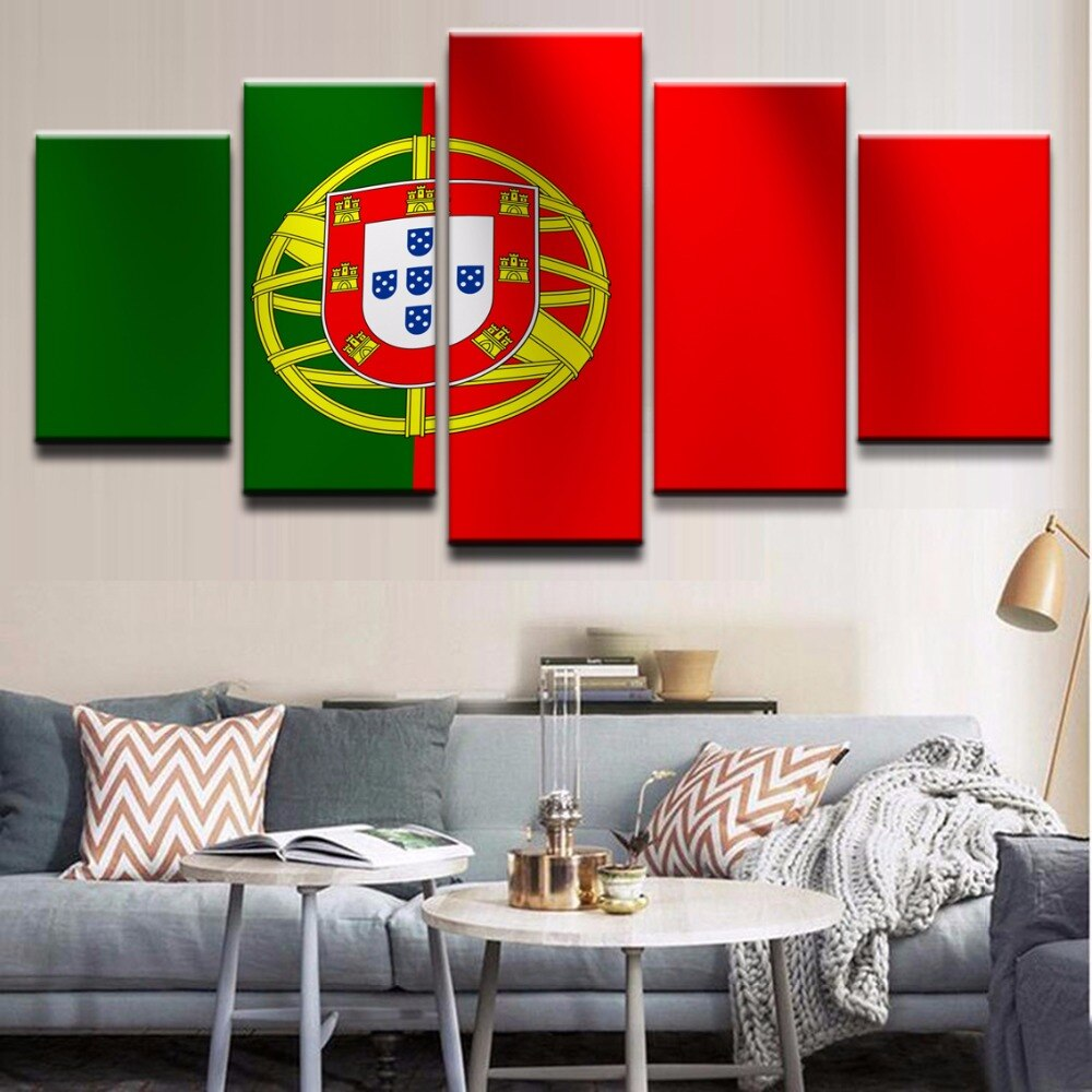Cuadros modulares de lienzo de alta calidad fotos impresas artístcas en alta definición para decoración del hogar 5 piezas Bandera de Portugal carteles MARCO DE PINTURAS