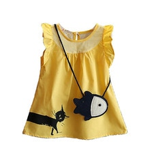 Summer Kids Girls Dress Cat Catch Fish Bag Cartoon Brand Children Dress Sleeveless casual girl costume party outfit Baby BC1170