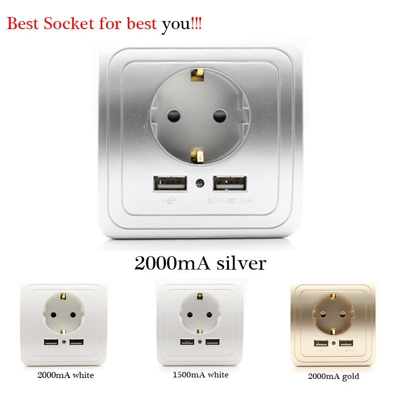 El mejor puerto USB Dual 2000mA adaptador/cargador de pared Enchufe europeo con panel de toma de corriente Usb
