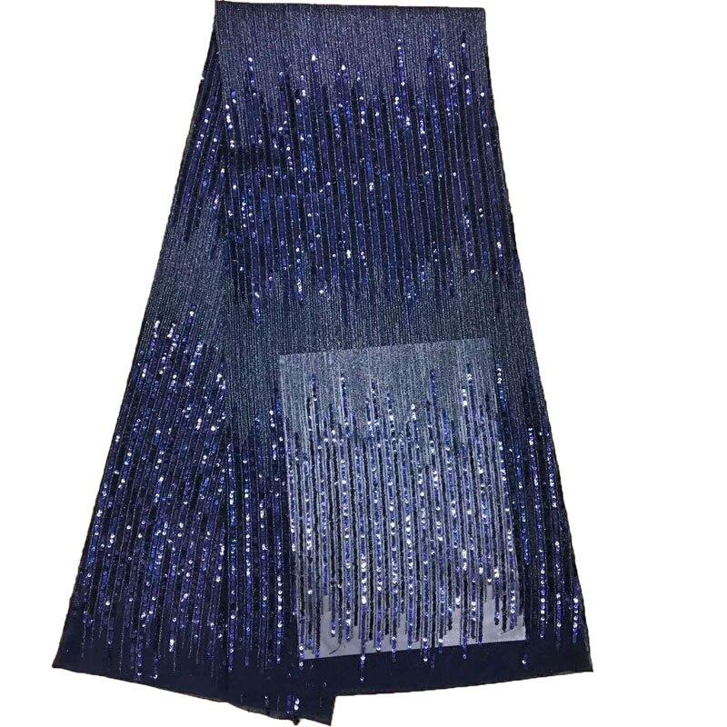 HFX, lo último en azul marino, bordado indio, tul, encaje, vestido de noche, tela de encaje francés, tela africana de alta calidad, Red de lentejuelas, X888-9 de encaje