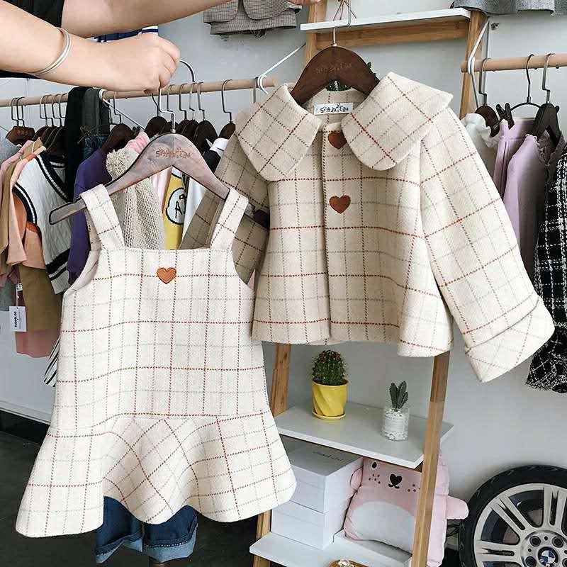 2 piezas WLG Otoño Invierno Niñas Ropa conjunto niños plaid grueso abrigo y vestido conjunto bebé casual beige ropa niños de 2 a 7 años
