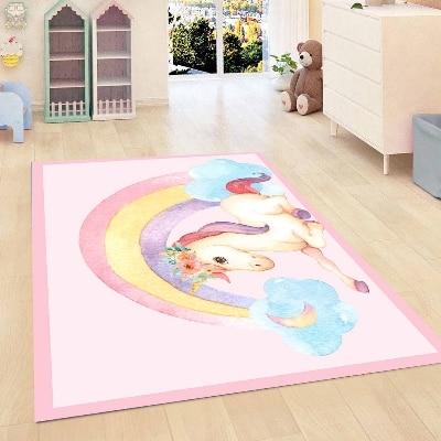 Más, rosa, borde, caballo unicornio con arcoiris, nubes, habitación de las niñas, estampado 3d antideslizante, microfibra, habitación de los niños, habitación decorativa, alfombra