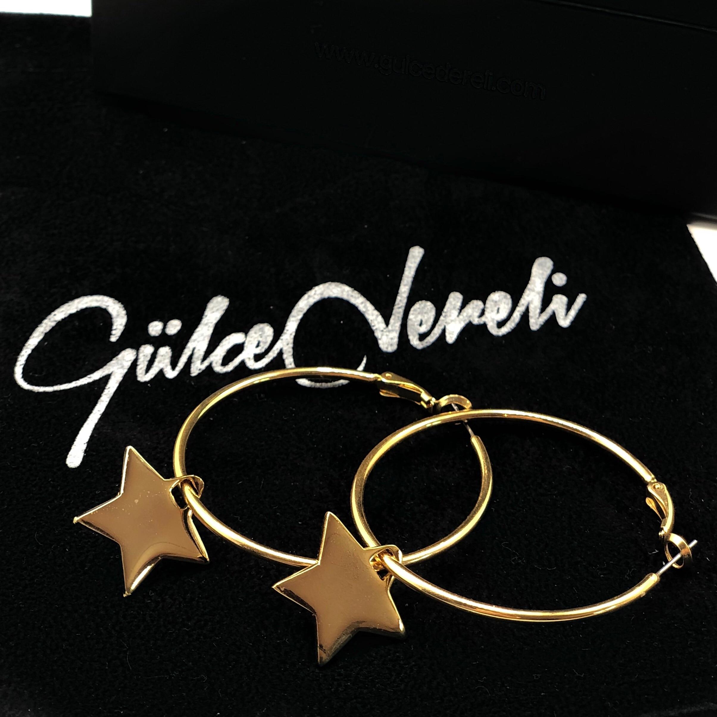 GULCE DERELI-أقراط على شكل نجمة ، أقراط دائرية ، أقراط ساحرة ، علبة هدايا ، مطلية بالذهب والفضة