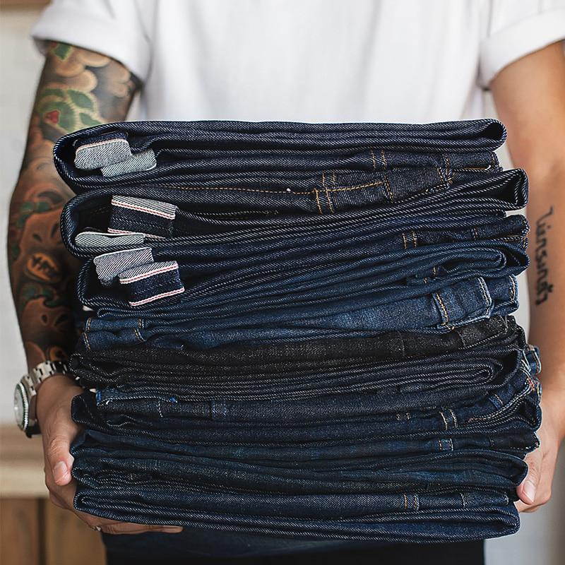 Maden Vintage Men's Denim Jean Big & Tall Regular Fit Straight Leg Raw Selvedge Denim Jeans Dark Blue Pant Classic Pants Trous