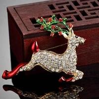donia jewelry red moose animal brooch enamel white rhinestone pin ms best christmas jewellery lady brooch